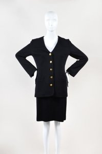 Sonia Rykiel Sonia Rykiel Black Wool Button Up Long Sleeve Jacket Pencil Skirt Suit
