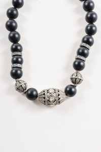 Other Indian Sterling Silver Black Onyx Rosecut Pave Diamond Beaded Necklace
