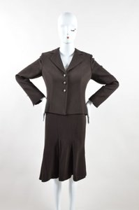 Valentino Valentino Dark Brown Wool Pleated Long Sleeve Jacket A Line Skirt Suit