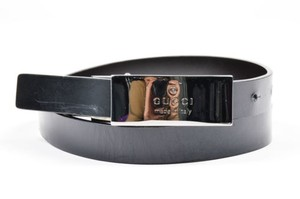 Gucci Gucci Black Silver Tone Leather Rectangular Buckle Belt 75