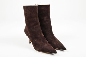 Michael Kors Dark Suede Heeled Brown Boots