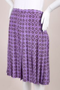 Chanel 01p Lavender Brown Silk Clover Cc Logo Pleated Skirt Purple