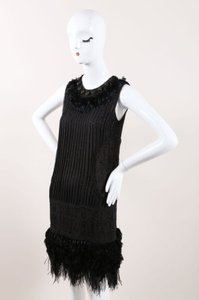 J. Mendel short dress Black Bead Feather Leather Applique Embellished Sleeveless Shift on Tradesy