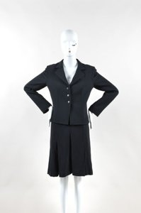 Valentino Valentino Black Twill Knit Pleated Long Sleeve Jacket A Line Skirt Suit