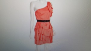 BCBGMAXAZRIA Ruffle Tiered Belted One Shoulder Dress