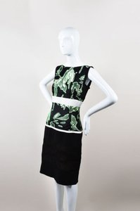 J. Mendel Green Black Floral Dress
