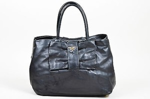 Prada Leather Bow Front Tote in Black
