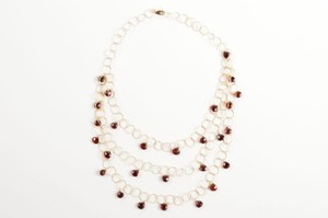 Mabe Gold Filled Rings Garnet Drops Layered Delicate Necklace