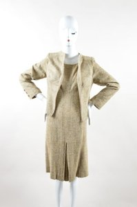 Valentino Valentino Cream Brown Woven Tweed Speckled Long Sleeve Jacket Dress Suit Set