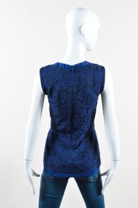 J. Mendel Navy Cotton Lace Overlay Sleeveless Shell Top Blue