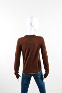 The Row Cream Merino Wool Atherton Piped V Neck Sweater