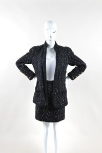 Chanel Chanel Black Multicolor Speckled Tweed Long Sleeve Jacket Pencil Skirt Suit Set