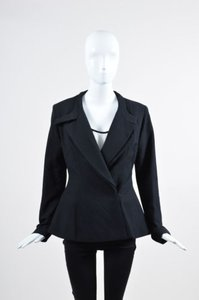 Twenty8Twelve Wool Twill Double Lapel Long Sleeve Tailored Black Jacket