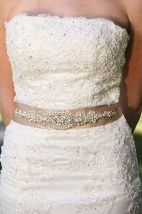 Other Valentina Wedding Dress Gown Crystal Embellishment Brooch Sash Beaded Belt With Ivory Pearls
