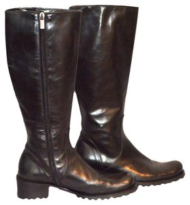 Mariella Burani Black Leather Boots