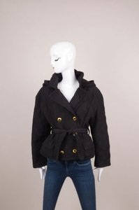 Versace Vintage Jeans Couture Black Quilted Belted Jacket Coat