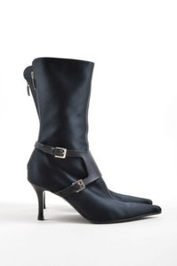 Sergio Rossi Satin Leather Black Boots