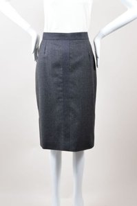 Chanel Vintage Wool Gold Tone Cc Pencil Skirt Gray