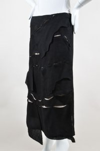 Loewe Tan Linen Ripped Layer Patchwork Midi Skirt Black