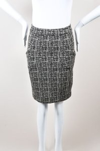 Alexander Wang Gray Woven Stretch Short Pencil Skirt Black