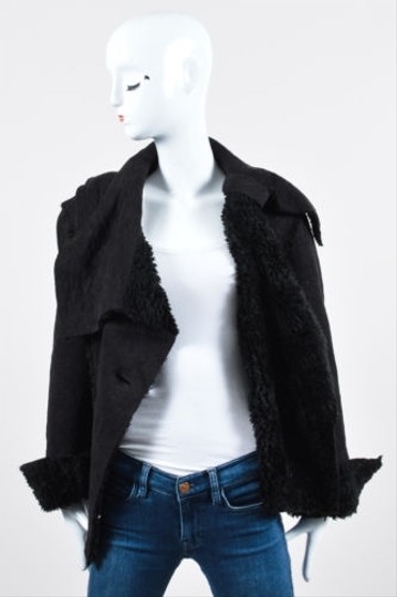 Rostfrei By Anett Rostel Black Faux Shearling Lapel Coat #10944517 - Jackets durable service