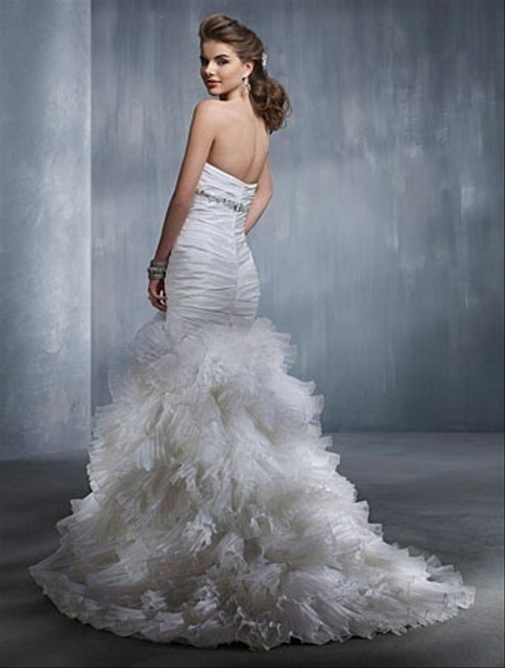 Alfred angelo white taffeta pleated organza sexy wedding for Angelo alfred wedding dresses