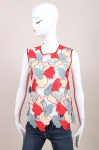 Jonathan Saunders Red Blue Embroidered Flower Clement Top