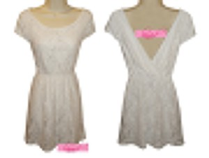 Macy's short dress White Girly Feminine Whimsical Wedding Bridal Reversible Reverse Backless Back Less Open Back Cleavage V-neck Vneck Low Cut V on Tradesy