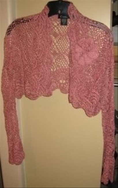 Other Elegant Sexy Lacy Bolero Knit Top Rose Pink