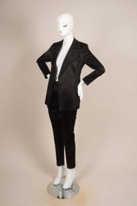 Gucci Gucci Black Satin Longline Jacket Straight Leg Trouser Pant Suit