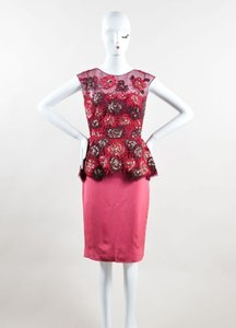 Lela Rose Pink Silk Sequin Crystal Floral Peplum Sl Sheath Dress