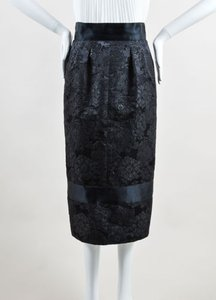 Chanel 07a Wool Silk Satin Trim Embroidered Long Pencil Skirt Black