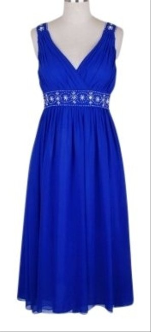 Preload https://img-static.tradesy.com/item/109457/blue-chiffon-embellished-pleated-goddess-v-neck-mid-length-formal-dress-size-12-l-0-0-650-650.jpg
