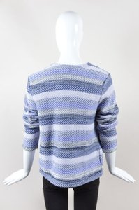 Joie Blue White Black Woven Knit Stripe Zip Up Long Sleeve Jacket Sweater