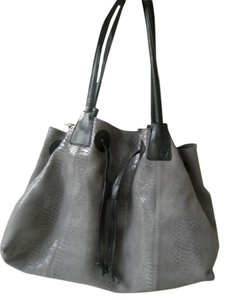 Ellen Tracy Tote in Gray with black trim