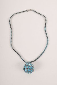 Weiss Furs Vintage Weiss Blue Rhinestone Ball Pendant Necklace