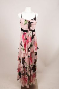 Maxi Dress by Moschino Cheap And Chic Pink Black Silk Floral Ruffle Maxi