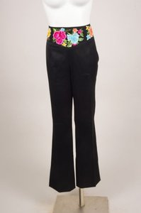 Escada Black Multicolor Wool Pants