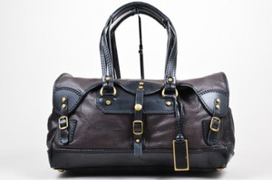 Joy Gryson Brown Grain Satchel in Black