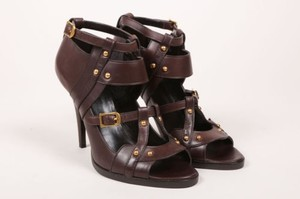 Gucci Brown Leather Studded Sandals