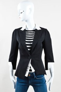 Andrew Gn Gn White Wool Single Button Cuffed Flared Black Jacket