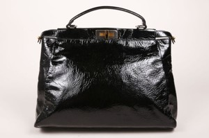 Fendi Patent Leather Textured Peekaboo Tote in Black