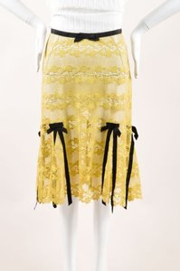 Louis Vuitton Brown Lace Bow Ribbon Trim Skirt Yellow