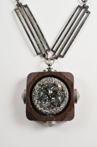 Lanvin Lanvin Silver Tone Brown Wood Oversized Crystal Pendant Necklace