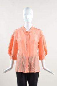 Fendi Coral Orange Silk Top Pink