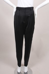 Jason Wu Black High Waisted Wool Satin Tuxedo Trousers Pants