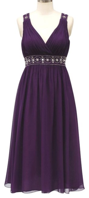Purple Chiffon Embellished Pleated Goddess V-neck Size:med Mid-length Formal Dress Size 8 (M) Purple Chiffon Embellished Pleated Goddess V-neck Size:med Mid-length Formal Dress Size 8 (M) Image 1