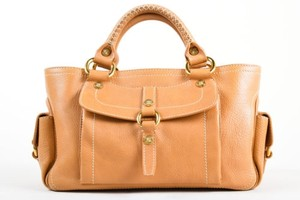 Céline Celine Tan Grained Leather Satchel in Brown