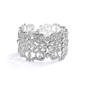 Silver/Rhodium Austrian Crystal Couture Cuff Bracelet