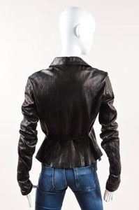 Roberto Cavalli Leather Black Jacket